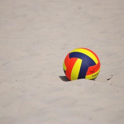 kamuolys, jūra, smėlis, vasara